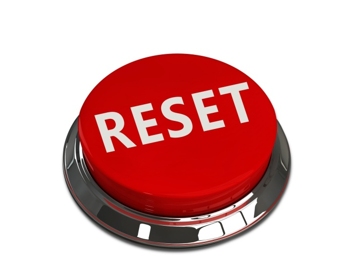 Reset button on white background